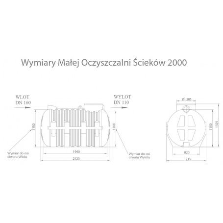 Przydomowa oczyszczalnia ścieków 2000l 2-4osób (Zestaw)