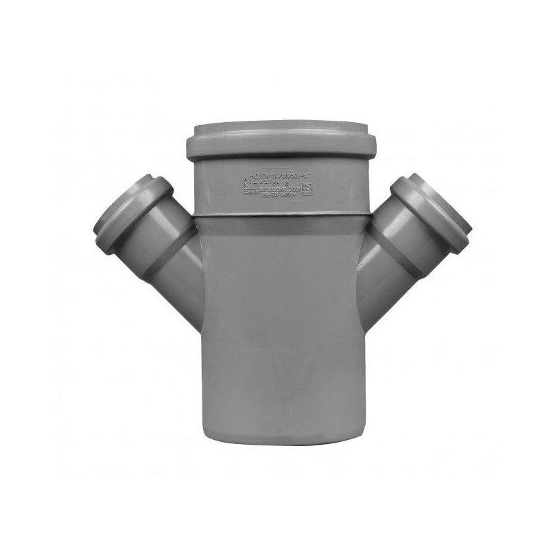 Czwórnik kanalizacyjny DN 110/50 kąt 45 stopni (wewnętrzny)