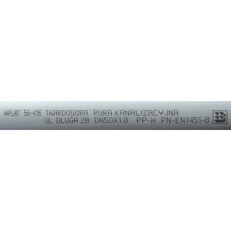 Rura kanalizacyjna z PP DN 50x1,8x4000mm (wewnętrzna)