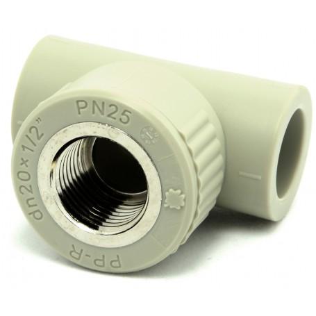 """Trójnik z gwintem wewnętrznym PPR fi 20x1/2""""mm kąt 90 stopni"""