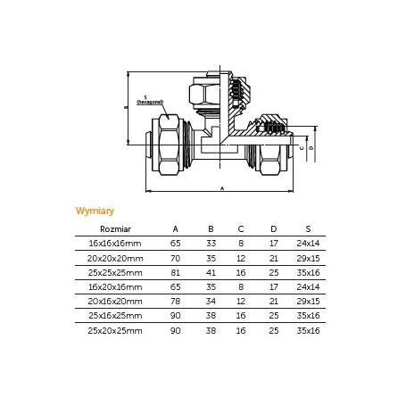 Trójnik skręcany PEX fi 25mm