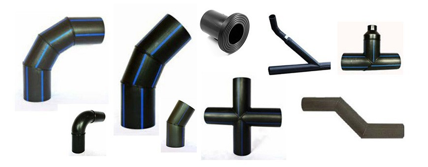 PE HD 100 pressure fittings for water mains.